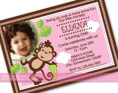Monkey Girl Birthday Invitation  Printable Digital by HoneyBops, $16.95