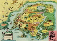 """Map of the hidden valley called Pal-ul-don featured in """"Tarzan the Terrible"""", the eighth Tarzan novel by Edgar Rice Burroughs."""