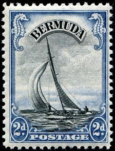 """""""Lucie, a six-meter racing yacht, engraved and printed by Bradbury, Wilkinson & Co., Ltd., and issued for use in Bermuda on April 14, 1936, Scott No. 108"""""""