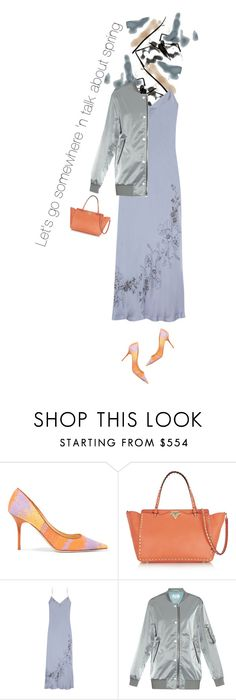 """""""Where should we go? Winter Layers #slipdress"""" by lorihopes ❤ liked on Polyvore featuring Jimmy Choo, Valentino, Carine Gilson and Acne Studios"""