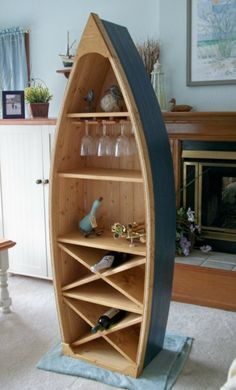 6 Ft Boat Wine Rack Glass Holder Bookcase Shelf Canoe Hand Crafted Knotty Pine…