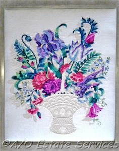 Williams Exquisite Floral Artistry Crewel Embroidery Artwork BarbaraAnn, $425.99