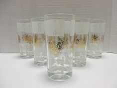 Heavy Hi Ball Tumblers Gold and White Atomic Star Medallion Beverage Glasses - Set of 7 by MarieWarrenArts on Etsy