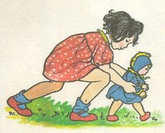 Rie Cramer  another illustration by this famour Dutch illustrator. Rec'd from Julka. baby bonnet
