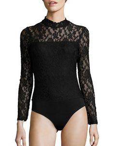 Design Lab Lord & Taylor Floral Lace Bodysuit Women's Black Medium