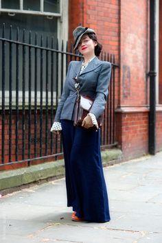 Basha wearing a 1940s Savile Row jacket with Palazzo pants and tilt hat (Wayne Tippets) #London #vintage #streetstyle