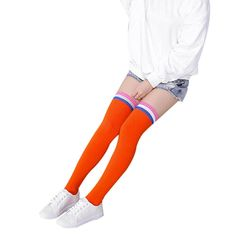 Leg Warmers DZT1968 Women Girl Over Knee three-color Striped Cotton Socks (Orange). Material:Cotton. Size:Foot plate 19.5CM + stockings 52CM. Occasion: Daily, Sports, Birthday Gift, Christmas Present. Style:Boot Cuffs; Fit: Girl,Women. Our leg warmers are any boot's best friend.
