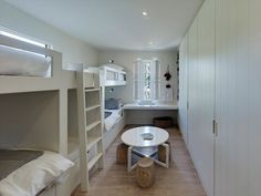 Gotta love bunk room simplicity in a vacation house.  I like adding the play table and lots of built in closet space.