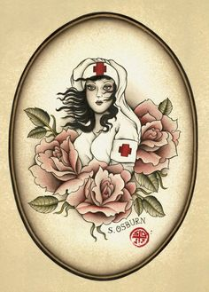 "2012 ""Nurse with Roses""  Limited Edition Print on fine Watercolor Paper by Scotty Osburn via Etsy"