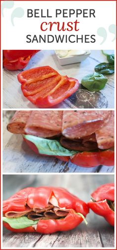 Low Calorie Bell Pepper Sandwiches made with salami, spinach, cream cheese, and balsamic vinegar - bread made out of bell peppers makes this perfect for your gluten-free needs!