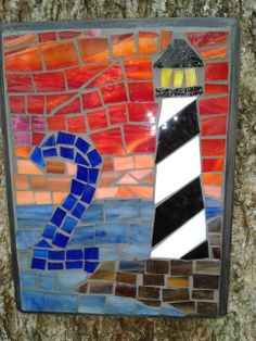 Lighthouse at Sunset mosaic house number -reserved