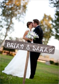 Rustic Wedding Sign on a Stake... His and Her Names. SAVE THE DATE Sign. Eco Wedding Decor. Country Weddings..