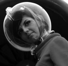The 'Futuristic' and short-lived 'hair protector' element, part of the space-age-inspired uniforms designed by Emilio Pucci for Braniff Airlines, 1965
