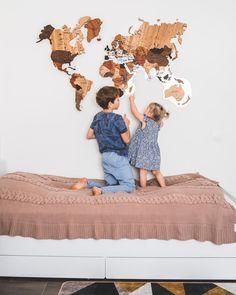 Wood Map Wall Decor by GaDenMap. Push Pin travel map for wall decor in office room, bedroom, living room, kid's room decorating. Unique gift idea for travelers. Wooden 3D World Map Wall Art #worldmapdecor #bedroomdecor #art