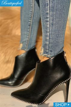 e4601c86f127 Stud Detail Point Toe Thin Heeled Boots Garra