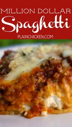 million dollar dip Million Dollar Spaghetti recipe - tastes like a million bucks! Great freezer meal too! Spaghetti, meat sauce, cottage cheese, cream cheese, sour cream and mozzarel Gourmet Recipes, Italian Recipes, Crockpot Recipes, Dinner Recipes, Cooking Recipes, Healthy Recipes, Pasta Recipes, Cream Of Chicken Soup, Crack Chicken