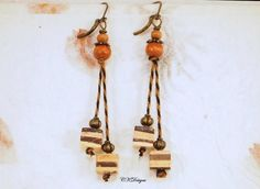 Mixed Media Earrings Wood Brass and Fiber Earrings  by CKDesignsUS