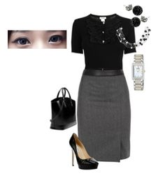 Look formal yet sexy in black upper and stenciled skirt and a pair of contacts to look refreshingly good!