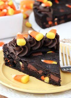 Halloween Candy Corn Chocolate Chip Cookie Cake.