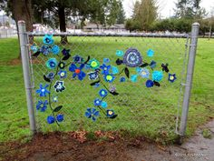 A tapestry of blues! Public art yarnbombing by nirvYARNah Collective, 2015.