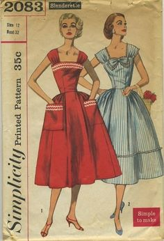 Simplicity 2083 Sewing Pattern 1950s  In my collection