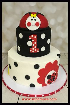 Ladybug themed birthday cake with removable ladybug smash cake