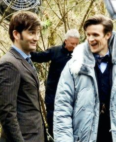 David Tennant and Matt Smith being the adorable cuties they are on the set of Day Of The Doctor. ♥♥