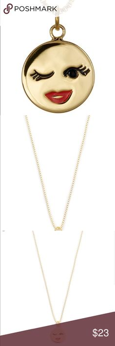 NWT Kate Spade gold plated necklace New with tag! Gold plated emoji necklace. kate spade Jewelry Necklaces