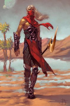 Dungeons and Dragons Work by Tyler Jacobson. Fierce looking warrior