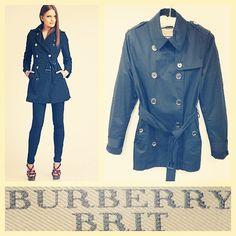 Burberry Brit $738 short black cotton trench coat sz.M @resaleriches price: $350 www.resalerichesnyc.com