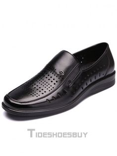 76ba9d9e1a3 Fantastic Perforated Square Toe Cowhide Men s Loafers - Flats - Shoes