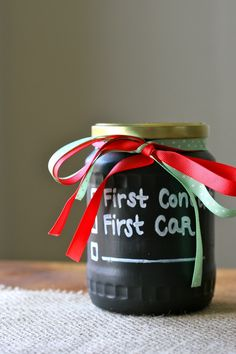 Chalkboard Paint Savings Jar - This is a must for anyone with a cash job! The goals on the jar are a great motivator too :)