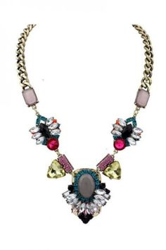 Bold Stylish Colorblocked Faux Stone Necklace
