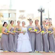 Floor-Length Gray Bridesmaid Dresses with Yellow flowers & shoes | Jessica Strickland Photography | Theknot.com