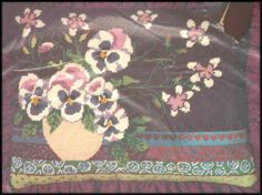"""VINTAGE BUCILLA FLORAL """"PANSIES"""" PICTURE OR PILLOW NEEDLEPOINT KIT ~ SEALED #Bucilla"""