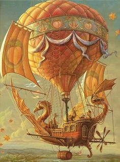 Amazing flying machine is part of Steampunk airship - Art Steampunk, Steampunk Airship, Dieselpunk, Steampunk Illustration, Art Et Illustration, Illustrations, Balloon Illustration, Fantasy World, Fantasy Art