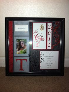 High School graduation gift--just use the invitation itself to frame up this great keep sake! You can also do the same thing for weddings, anniversaries, and special birthday events Graduation Open Houses, High School Graduation Gifts, Graduation 2016, Graduation Celebration, Grad Gifts, Graduation Pictures, Graduate School, Graduation Frames, Graduation Shadow Boxes