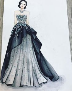 The picture can contain: 1 person # contains # picture # person - - Dress Design Drawing, Dress Design Sketches, Fashion Design Sketchbook, Fashion Design Drawings, Dress Drawing, Wedding Dress Sketches, Fashion Drawing Dresses, Fashion Illustration Dresses, Dress Illustration