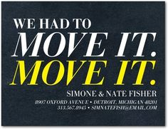 Move It - Moving Announcement Postcards - Jill Smith - Sunny Yellow - Yellow | www.TinyPrints.com