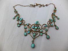 Fine Victorian Art Nouveau natural Turquoise silver gilt necklace