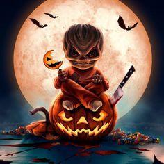 Sam Trick R Treat, Days Until Halloween, Halloween Halloween, Halloween Shadow Box, Silver Shamrock, Hallows Eve, Horror Movies, Pumpkin Carving, Digital Art