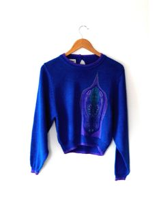 Electric blue sweater / purple / aqua / paisley heart / vintage knit / retro / 80s / jaymee papell / button  / small funky cropped sweater