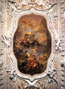 Allegory by Pellegrini, made in 1700 . 1710 decorating the ceiling of the main room