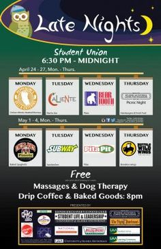 Green & Gold NewsStudy for spring 2017 finals with Late Nights in the UAA Student Union. Enjoy free food and relaxing activities to ease end-of-semester stress. Click here or view the graphic at right to learn what's on the menu. Late Nights will run Monday–Thursday, from 6:30 p.m.   #2017 #finals #Gold #green #late #NewsStudy #night's #spring #student #Union