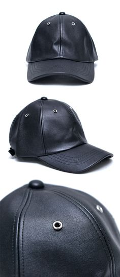 a2eec52a901 Silver Eyelet Leather Cap-Hat 79 by Guylook.com Great quality faux leather  Minimal design with silver eyelet accent