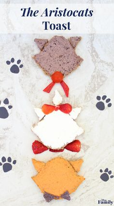 Your little kitten will be smitten with this cute 'Aristocats' Toast recipe inspired by Berlioz, Marie, and Toulouse. Disney Inspired Food, Disney Theme, Disney Style, Disney Snacks, Disney Food, Disney Recipes, Kid Recipes, Disney Movies, Disney Songs