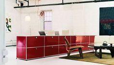USM Haller cabinets in red