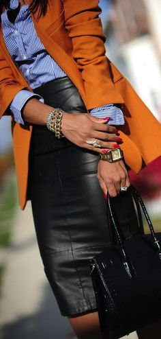 Leather pencil skirt + cardi