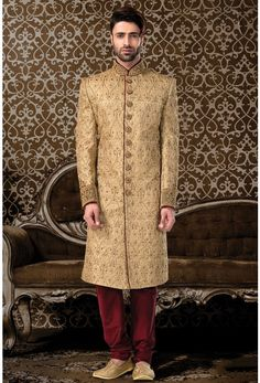 Wedding Sherwani-Gold-Zari Work-SH232