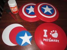 make a Captain America shield Frisbee, party games - great idea! Planning a party? Visit www.candlesandfavors.com for personalized invitations, thank you notes and party favors! Hundreds of themes available!!!